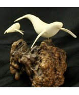 John Perry Humpback Whales Sculpture Mother & Calf White Burlwood Base - $93.10