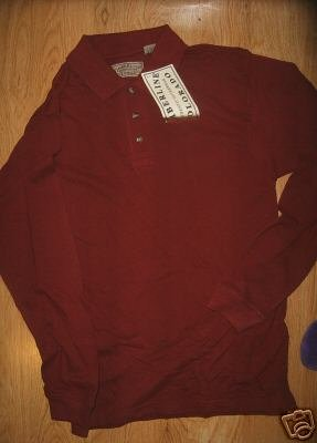 MEN TIMBERLINE COLORADO BURGUNDY LONGSLEEVE POLO XS NEW
