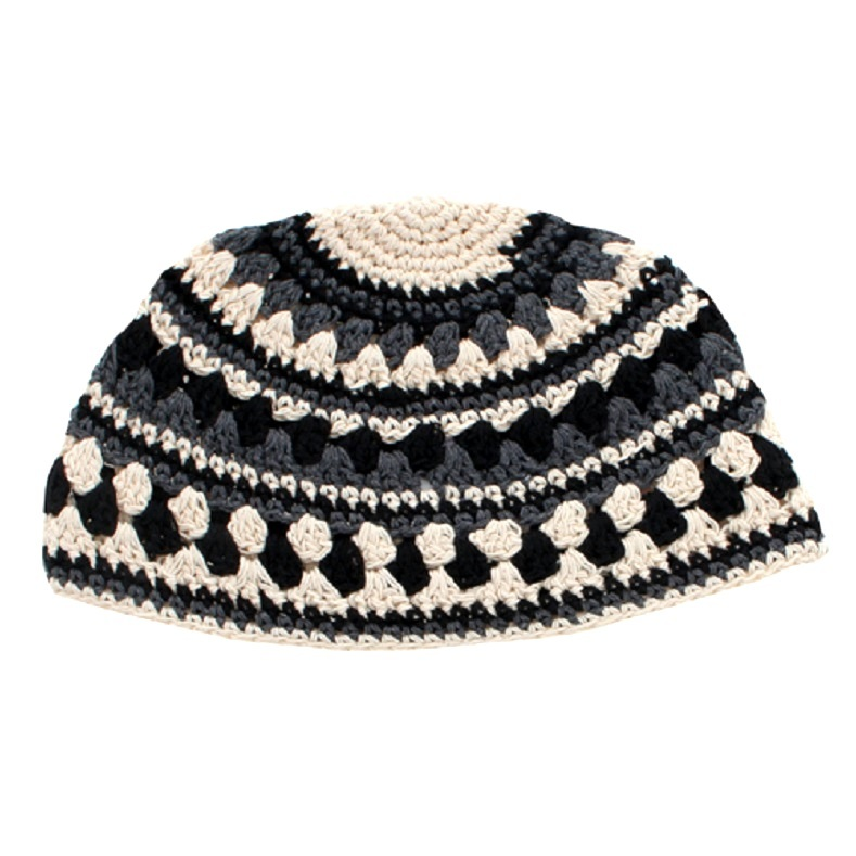 Frik Kippah Skull Knit Cap Yarmulke Crochet Black Cream Thick Knit Striped 26 cm