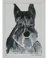 Schnauzer Dog Art Monotype Hand Pulled Print Solomon - $40.00