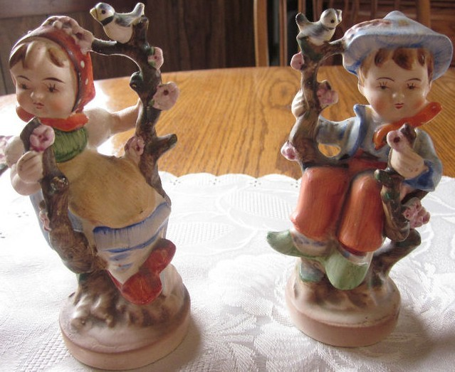 AMERICAN CHILDREN ~ SPRING GAL & SPRING PAL FIGURINES 1950'S