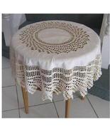 Vintage Antique Crochet Trimmed Round Tablecloth - $72.00