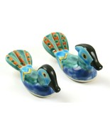 Pair of Beautiful Vintage Colorful Porcelain Miniature Duck Figurines - $29.69