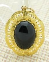 Black Jet Stone Agate Gold Tone Openwork Pendant Vintage - $24.74