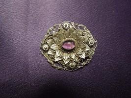 Sterling Silver 925 Brooch Pin Purple Glass Art Nouveau Floral Vintage - $40.10
