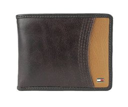 New Tommy Hilfiger Men's Leather Passcase & Valet Wallet (Brown)