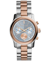 MICHAEL KORS Runway Blue Chronograph Two Tone Stainless Bracelet Watch M... - $126.43