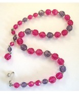 Marvella Vintage sparkling pink and purple faceted glass  fifties neckla... - $10.00