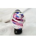 Handblown Glass Egg Paperweight Signed M. McKinney 197x Spiral Blues Pinks  - $37.00