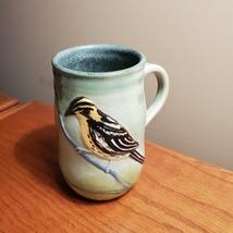 Mug with Bird, Studio pottery cup, yellow black finch, goldfinch coffee mug