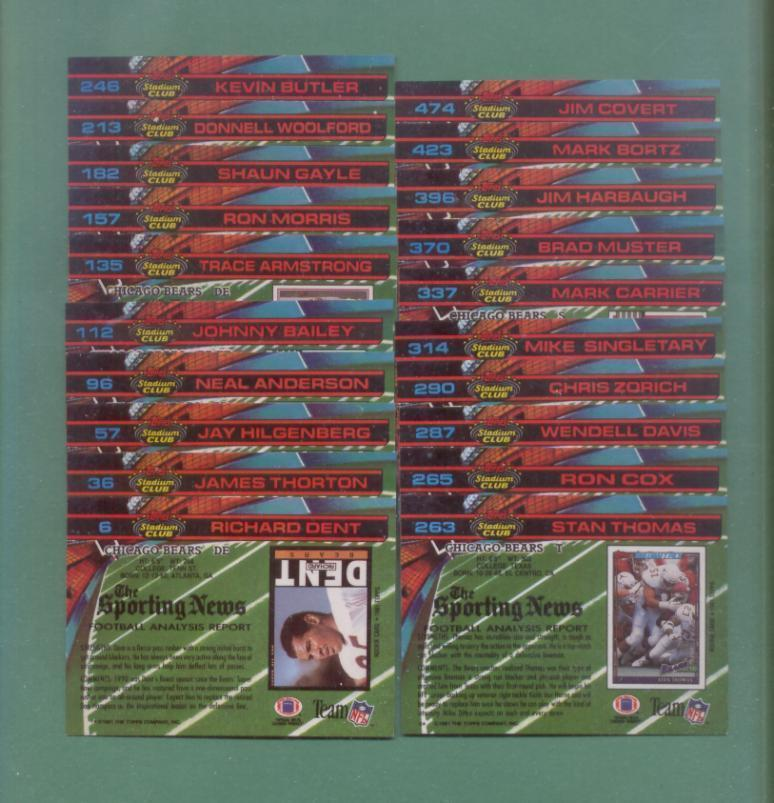 1991 Stadium Club Chicago Bears Football Set