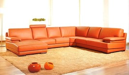 2227 Contemporary Orange Leather Sectional Sofa - $3,599.00