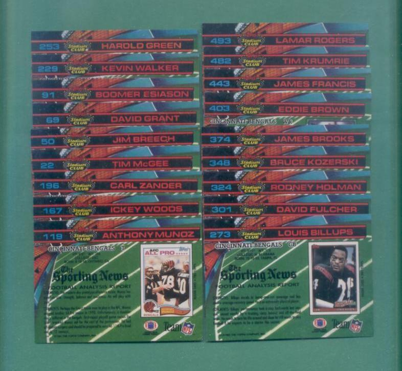 1991 Stadium Club Cincinnati Bengals Football Set