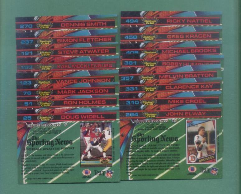 1991 Stadium Club Denver Broncos Football Set
