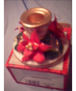 2 Porcelain Poinsettia Candle Holder for Tea Light Candles for Christmas - $5.00