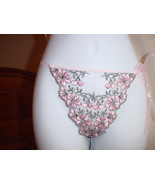 Victorias Secret Embroidered V-String Small and Medium Black/Pink NWOT - $14.99
