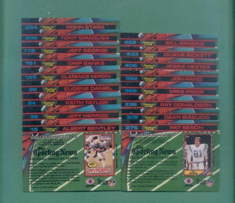 1991 Stadium Club Indianapolis Colts Football Team Set