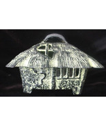 Large Old Oriental Grass Hut Shack House Cast Iron Bronze Incense Burner... - $19.50