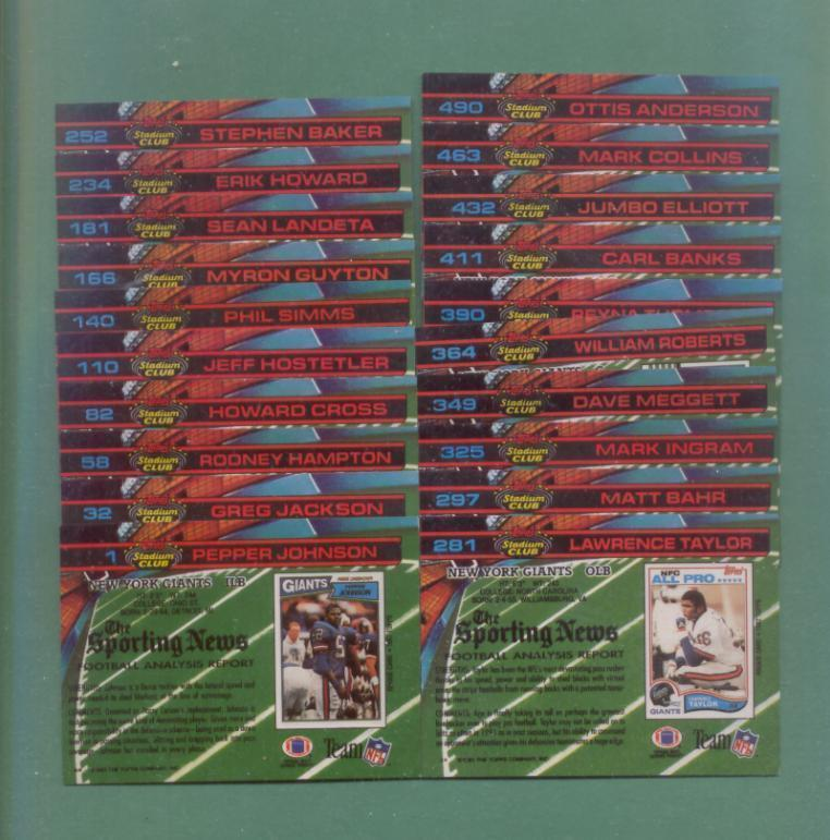 1991 Stadium Club New York Giants Football Team Set