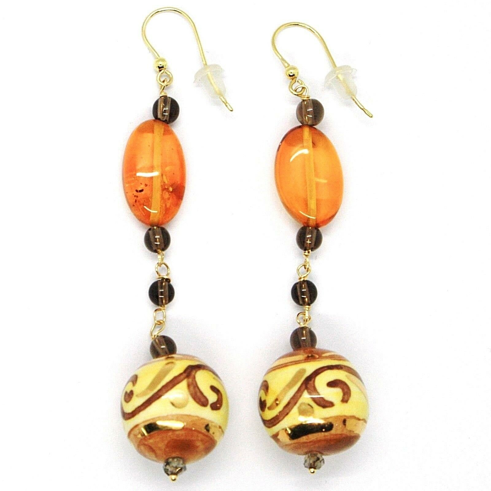 18K YELLOW GOLD EARRINGS OVAL AMBER, POTTERY CERAMIC BALLS HAND PAINTED IN ITALY