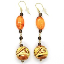 18K YELLOW GOLD EARRINGS OVAL AMBER, POTTERY CERAMIC BALLS HAND PAINTED IN ITALY image 1