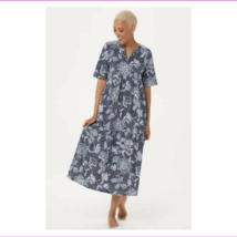 Stan Herman Stamped Floral Cotton Gown, Navy, XS - $12.10