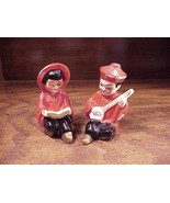 Pair of Red Oriental Figures Ceramic Salt and Pepper Shakers - $5.55