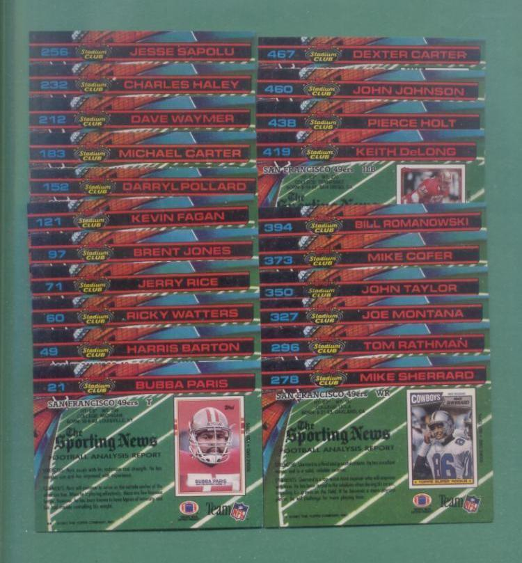 1991 Stadium Club San Francisco 49ers Football Set