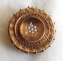 Antique 14 K Gold English Victorian Pin with Seed Pearls - $250.00