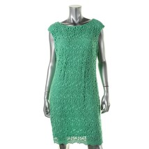 Lauren Ralph Lauren Womens Sz 12 Lace Overlay Bateau Casual Green Dress 2342-3 - $74.04
