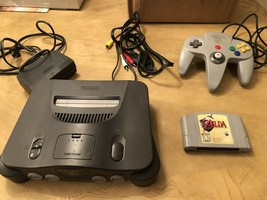 Nintendo N64 System Console Bundle + Cables + Controller + Zelda Ocarina Of Time - $178.15