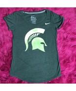 Women's NIKE Dri-Fit Michigan State Spartan Velvet Logo T Shirt Sz M - $13.81