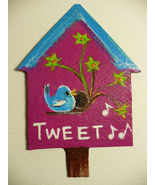 IUPPA CUT ACEO Original ACRLYC Painting Blue Bird House - $9.29