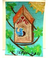 IUPPA ACEO ORIGINAL Acrylic Painting Blue Bird House - $9.99