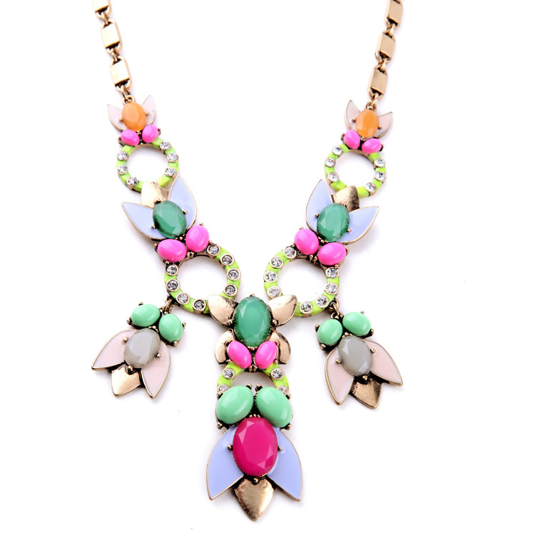 New York Mixed Charm Candy Color Cluster Necklace Brand Jewelry Free Shipping