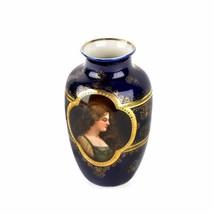 """Unique 19C Royal Vienna Vase Cobalt Blue, Beaded, Portraits 6"""" - $346.50"""