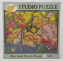 """Bits and Pieces - 500 Piece Studio Puzzle """"Free Puppies"""" Little Girl SEALED NEW - $14.99"""
