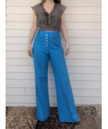 70s Sailor Pants Blue Mod Wide Leg High Waist Jantzen Retro M - $44.00