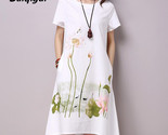 plus size short sleeve white women dress casual cotton linen dress lotus printing thumb155 crop