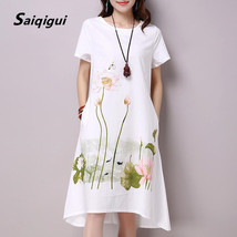 Saiqigui Summer Dress Plus Size Short Sleeve White Women Dress Casual Co... - $25.50