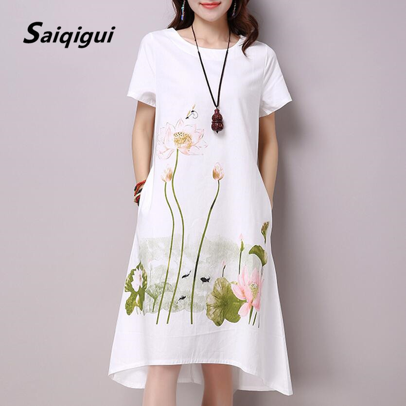 I summer dress plus size short sleeve white women dress casual cotton linen dress lotus printing