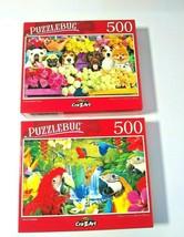 Parrot Paradise and Flower Market Pup Pug Dogs Jigsaw Puzzles 500 pcs Ne... - $15.84