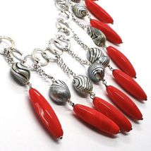 Silver 925 Necklace, Coral, Pearls Grey Painted, Waterfall, Hanging image 3