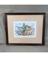 Colored Print, Unknown Artist, Sailing Boats Moored at Village Waterfront - $14.95