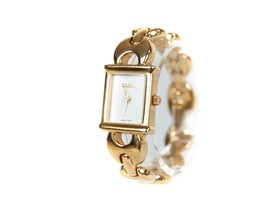 Auth GUCCI 1800L Gold Plated Quartz Ladies Watch GW11650L - $290.59 CAD