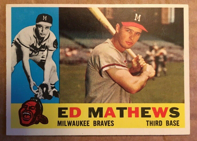 1960 Topps #420 Ed Mathews Baseball Card NM/M Condition Milwaukee Braves RF1