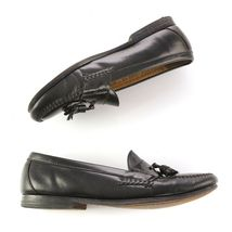 Cole Haan Black Leather Tassel Loafers Slip On Dress Shoes Apron Toe Mens 10 image 3