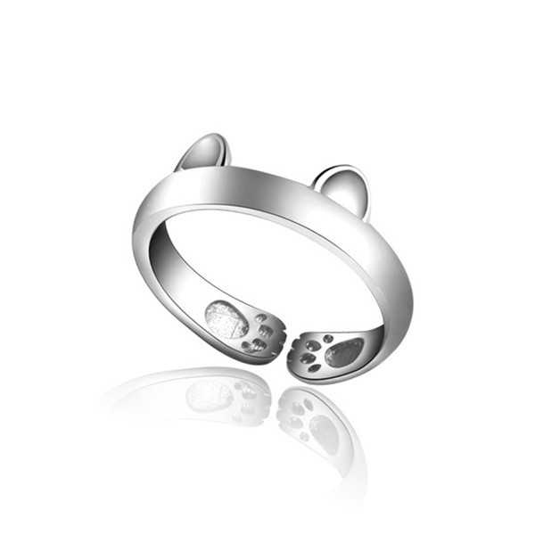 Cute 925 Silver Plated Cat Ear Opening Ring For Women Adjustable