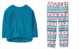 NWT Crazy 8 Pullover Sweater & Heart Print Pants Fleece Outfit Set 3T 4T 5T - $12.99