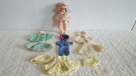 Vintage Hard Plastic Sleep Eye Long Blonde Curly Hair Doll w Cloth 1940s... - $19.99